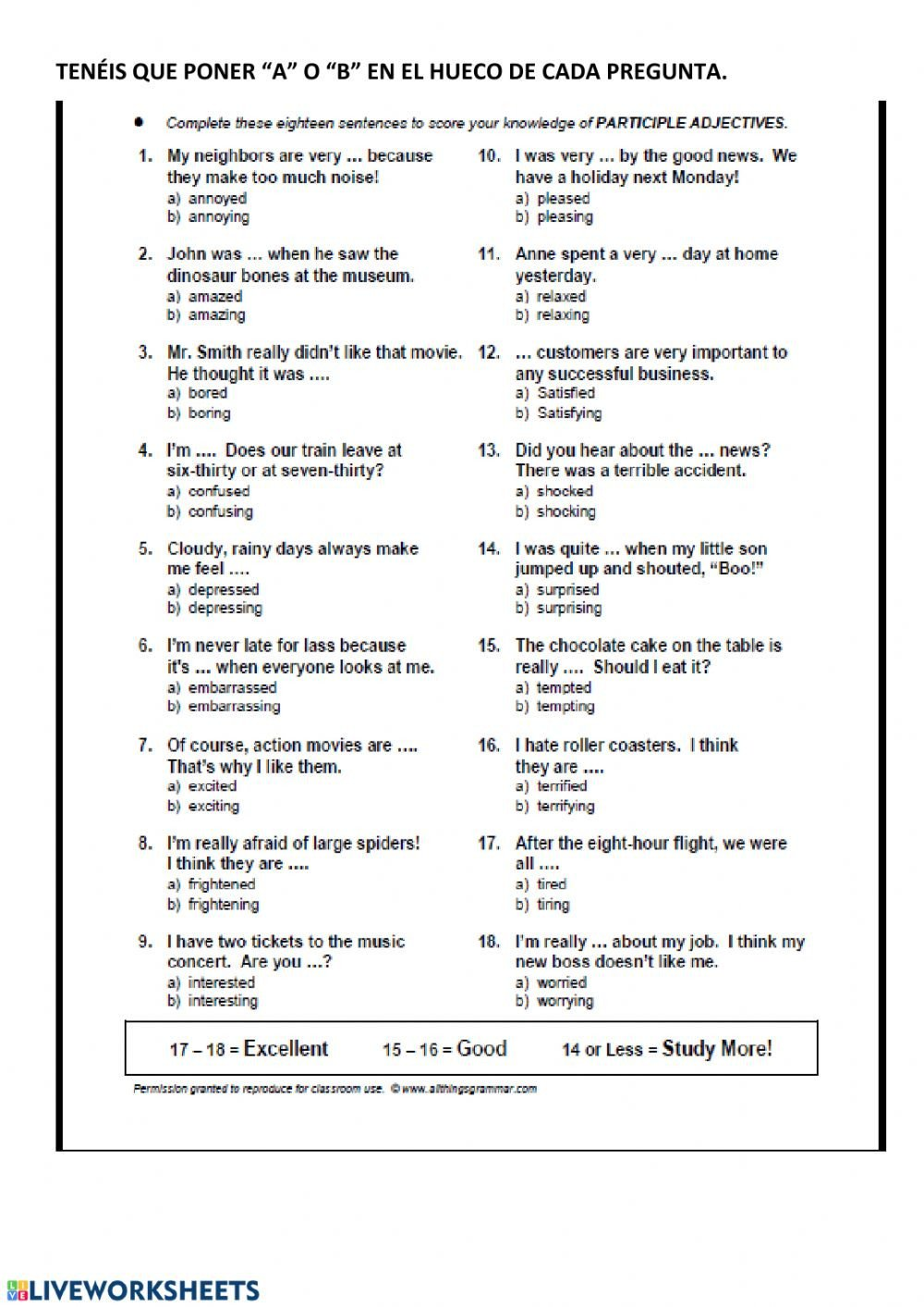 Ed and Ing Worksheets Adjective Ed Ing Interactive Worksheet