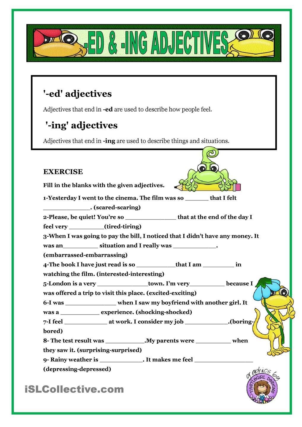Ed and Ing Worksheets Ed & Ing Adjectives