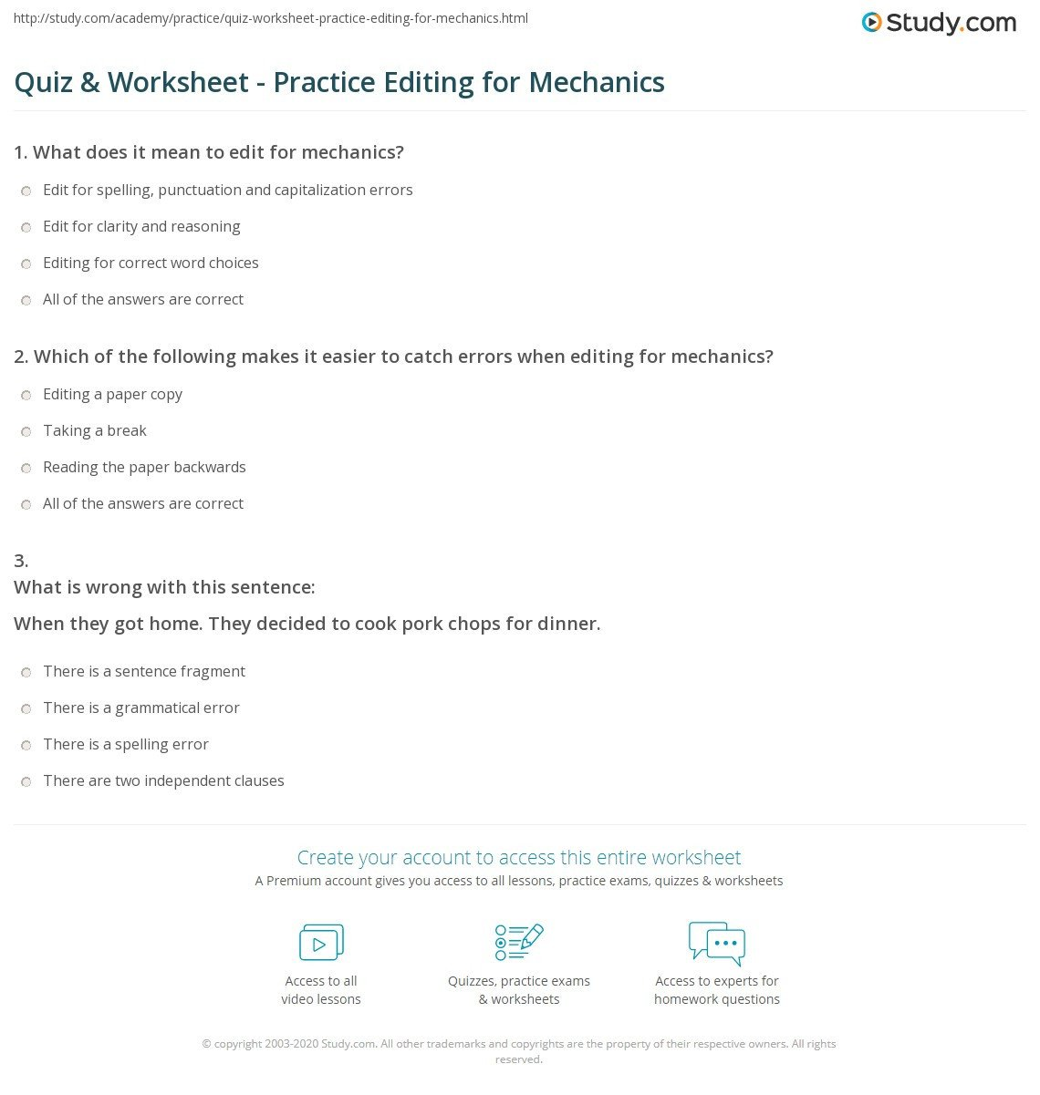 quiz worksheet practice editing for mechanics study