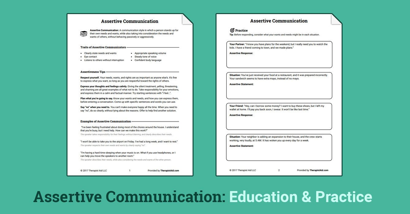 Effective Communication Worksheets Adults assertive Munication Worksheet