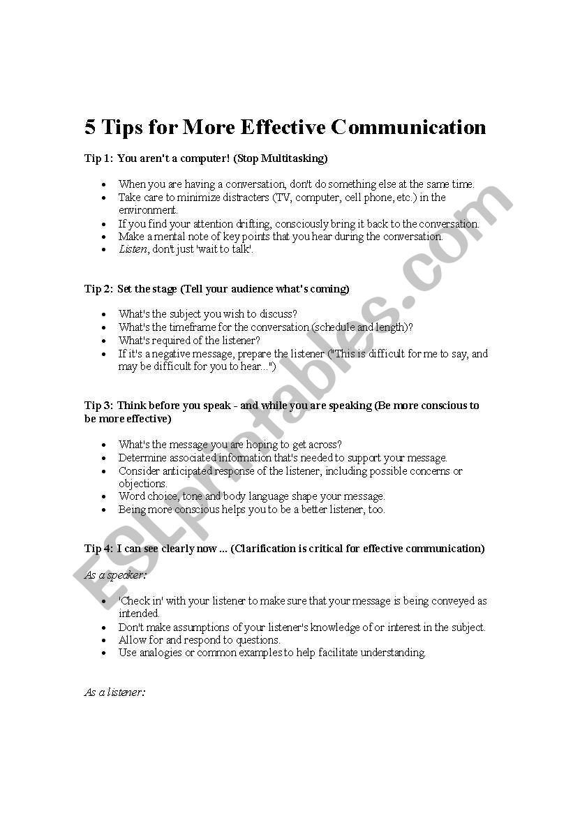 Effective Communication Worksheets Adults English Worksheets Effective Munication