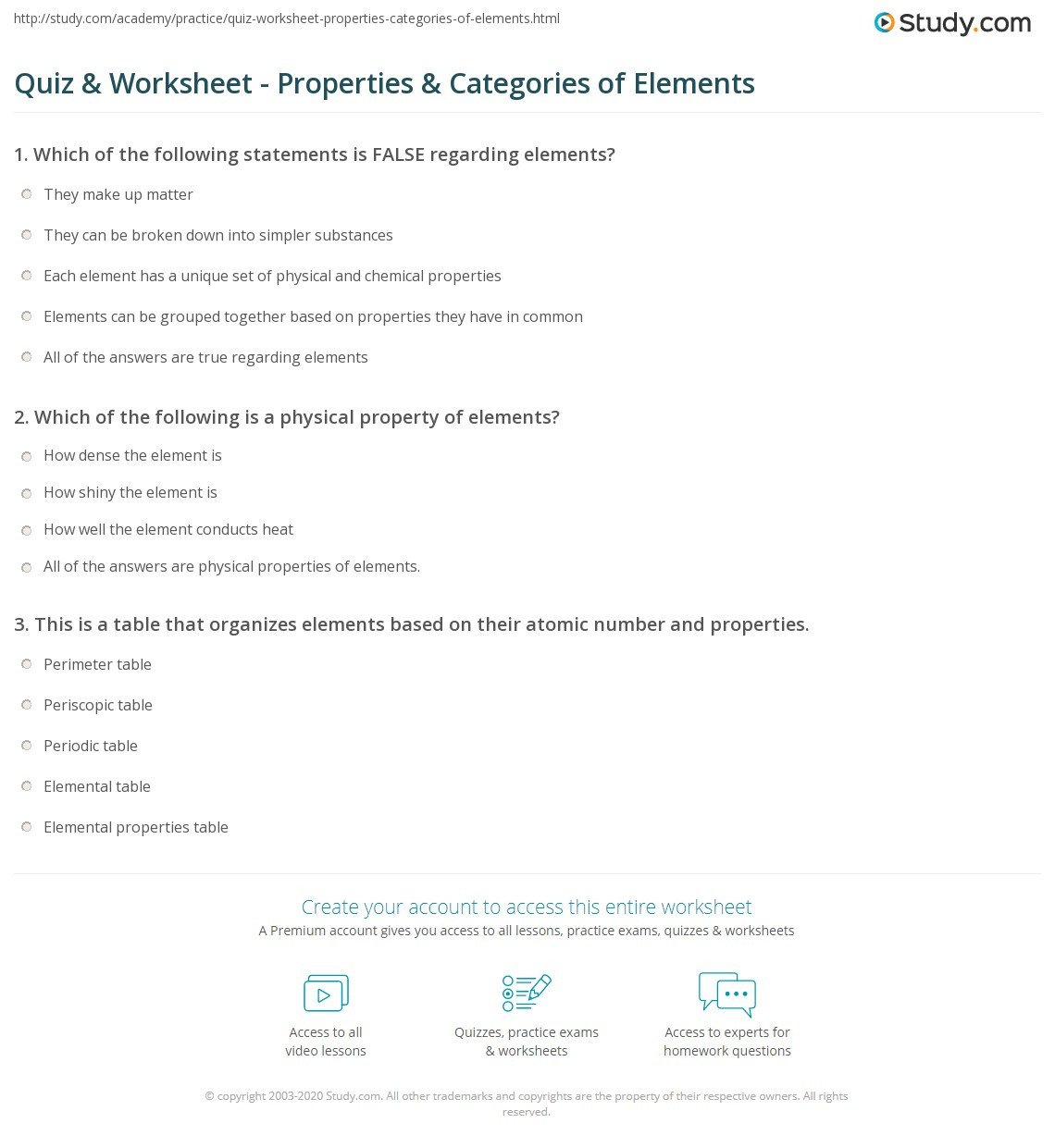 quiz worksheet properties categories of elements study