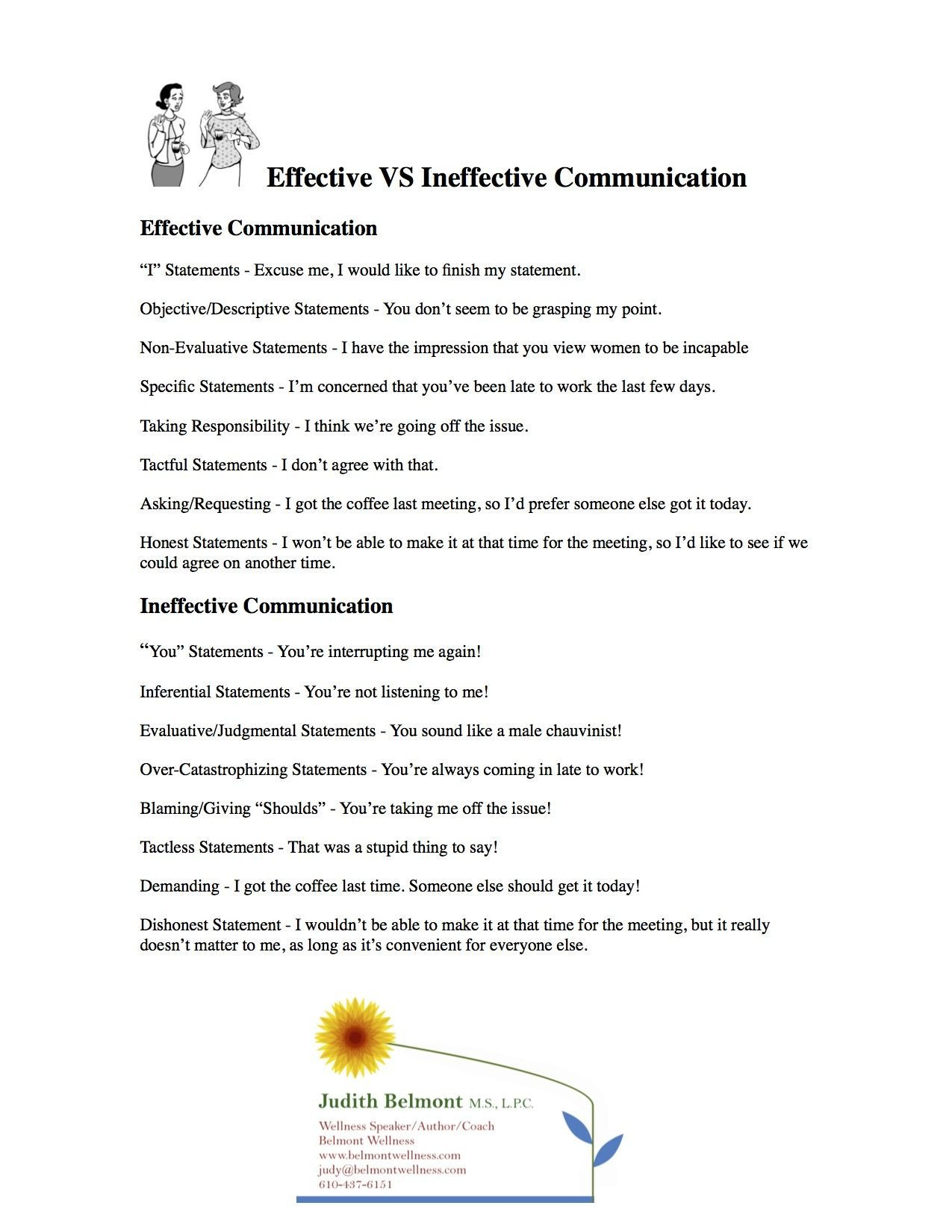Effective Communication Worksheets Adults Psychoeducational Handouts Quizzes and Group Activities