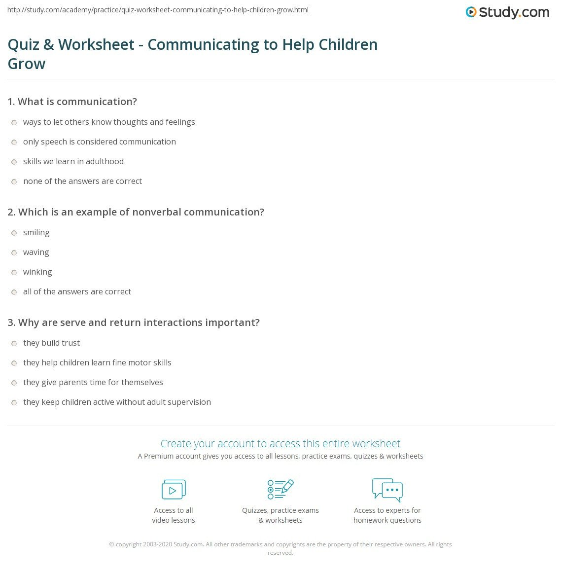 quiz worksheet municating to help children grow