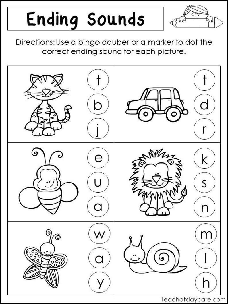 Ending sound Worksheet 10 Printable Ending sounds Worksheets Preschool 1st Grade