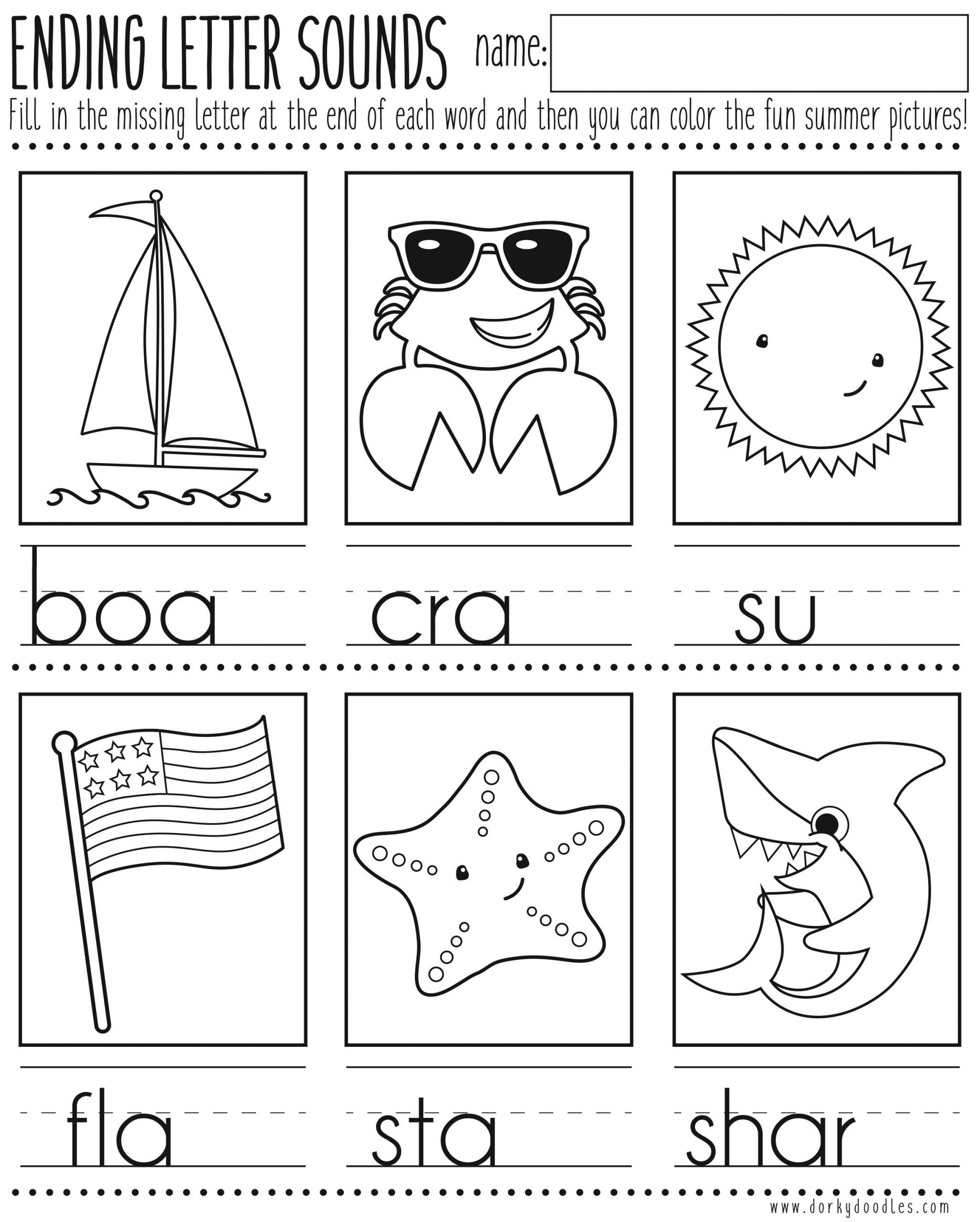 Ending sound Worksheet Ending Letter sounds Printable Worksheet – Dorky Doodles