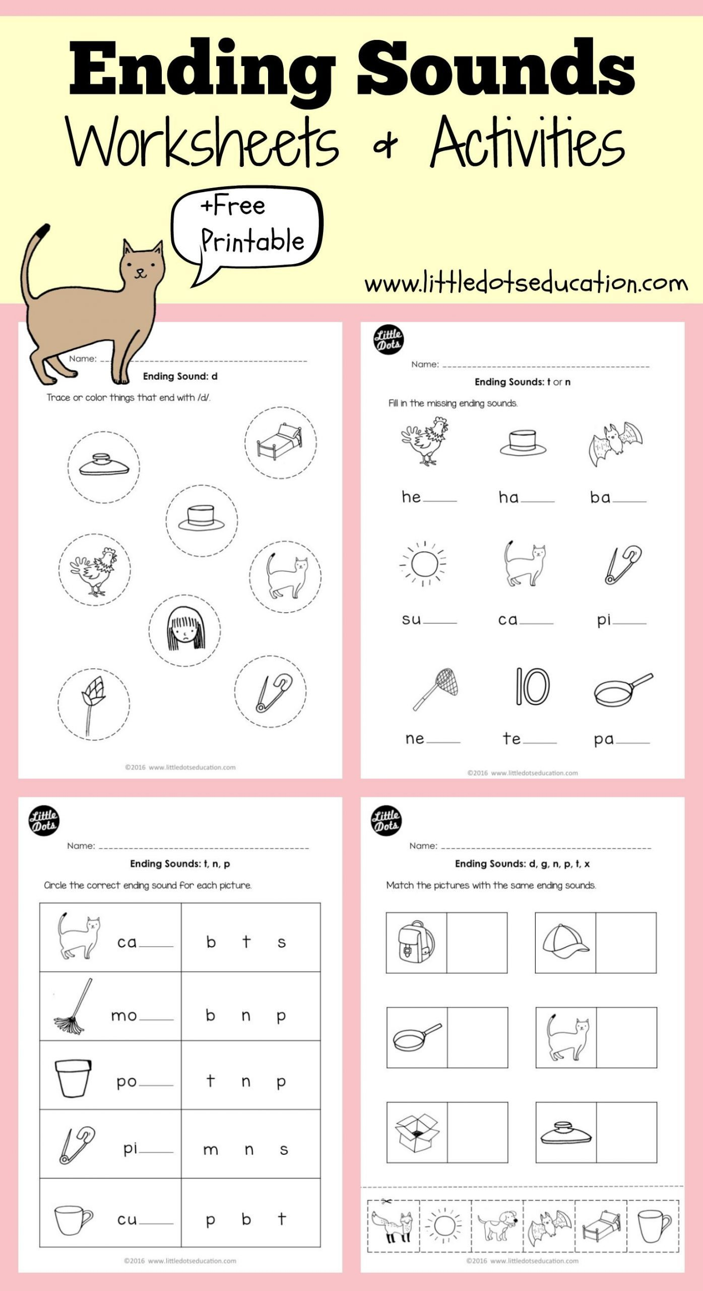 Ending sound Worksheets Ending sounds Worksheets and Activities