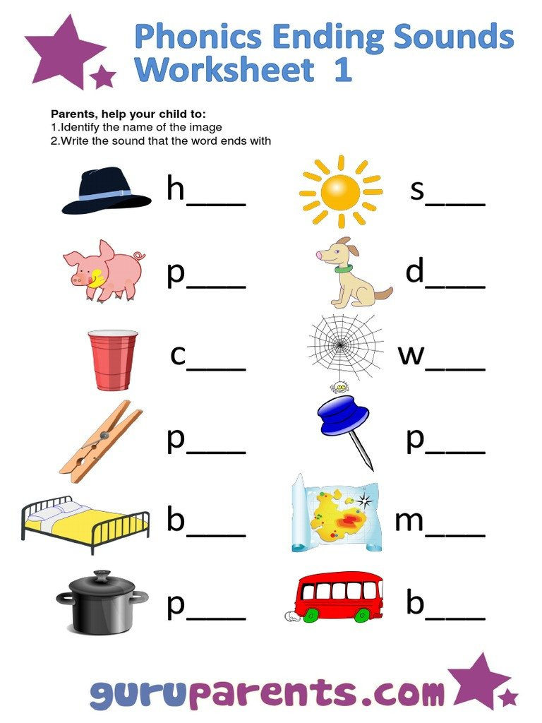 Ending sound Worksheets Phonics Ending sounds Worksheet 1 Pdf