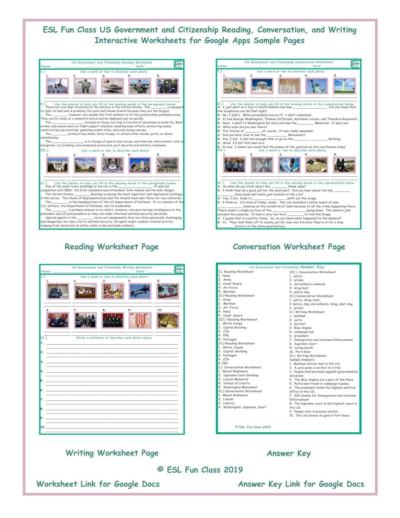Esl Writing Worksheets Pdf Us Government and Citizenship Read Converse Write Interactive Worksheets for Google Apps