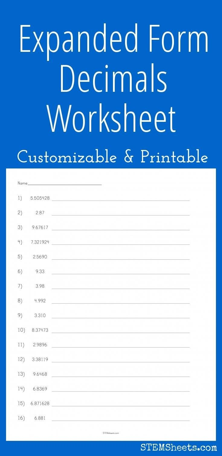 Expanded form Worksheets 5th Grade Expanded form Decimals Worksheet