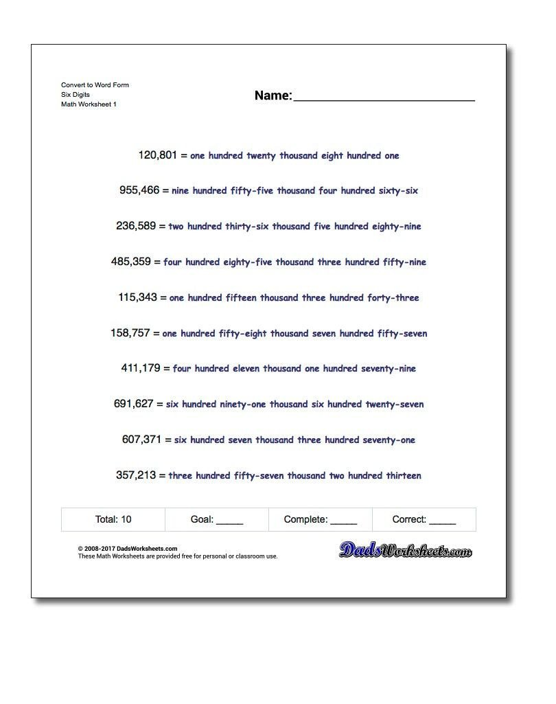 Expanded form Worksheets 5th Grade Standard Expanded and Word form Practice Worksheets for
