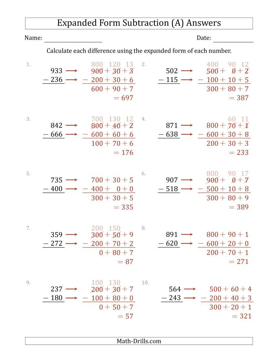 Expanded form Worksheets Second Grade 3 Digit Expanded form Subtraction A