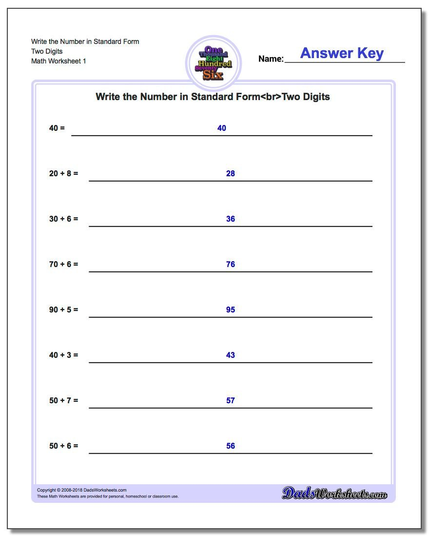 Expanded form Worksheets Second Grade Standard Expanded and Word form