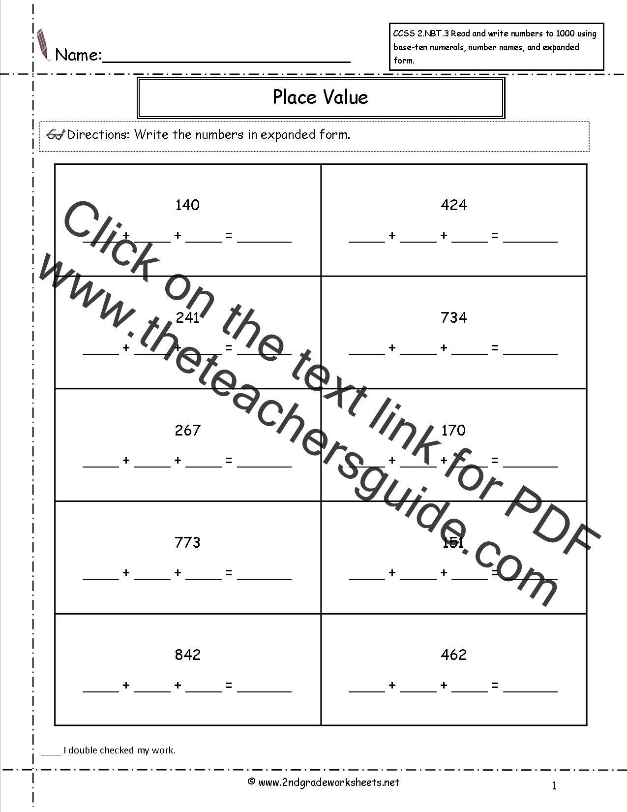 Expanded Notation Worksheets Ccss 2 Nbt 3 Worksheets Place Value Worksheets Read and