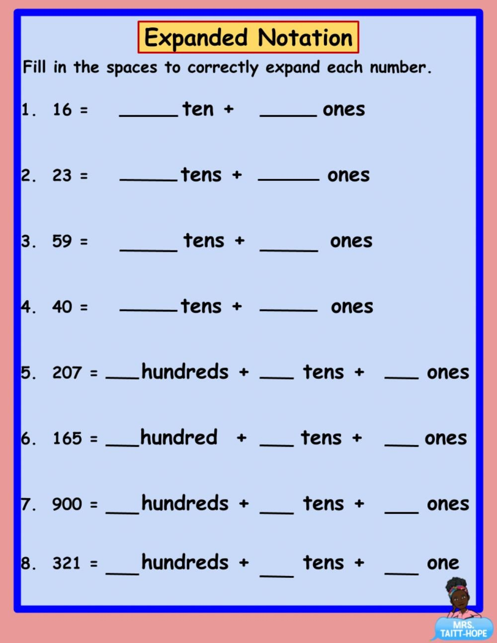Expanded Notation Worksheets Expanded Notation 1 Interactive Worksheet