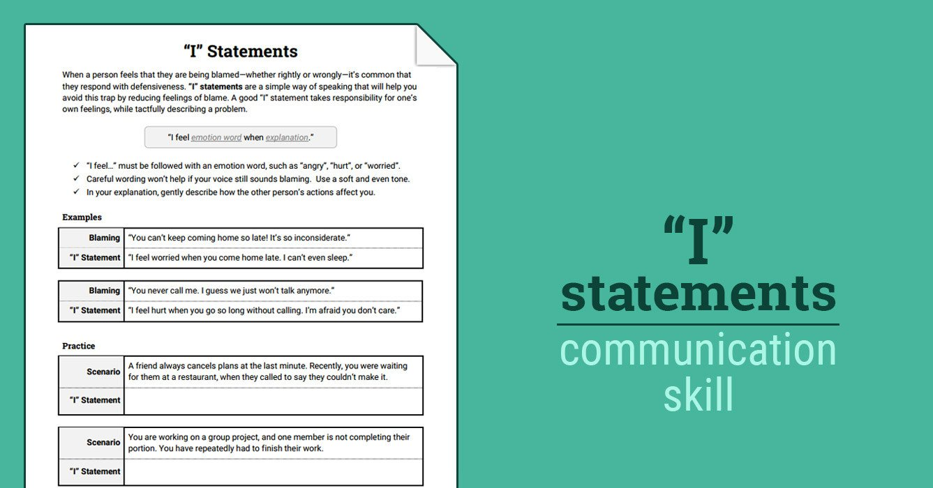 """Family therapy Communication Worksheets I"""" Statements Worksheet"""