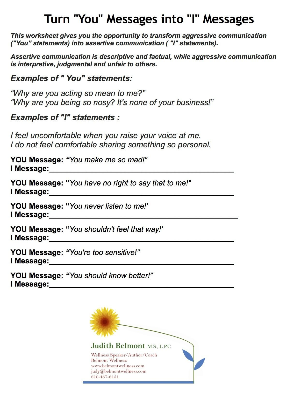 Family therapy Communication Worksheets Judy Belmont