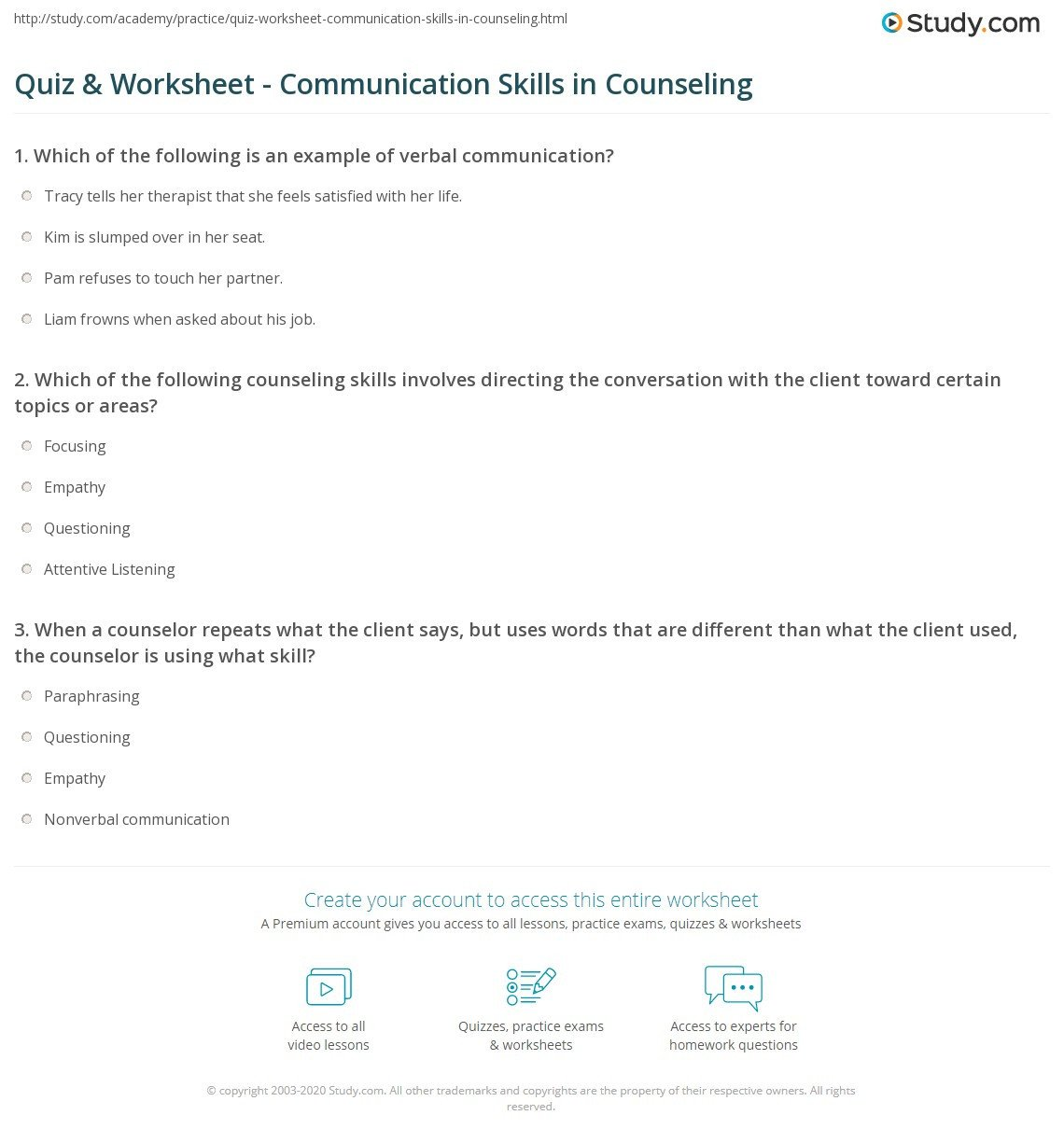 Family therapy Communication Worksheets Quiz & Worksheet Munication Skills In Counseling