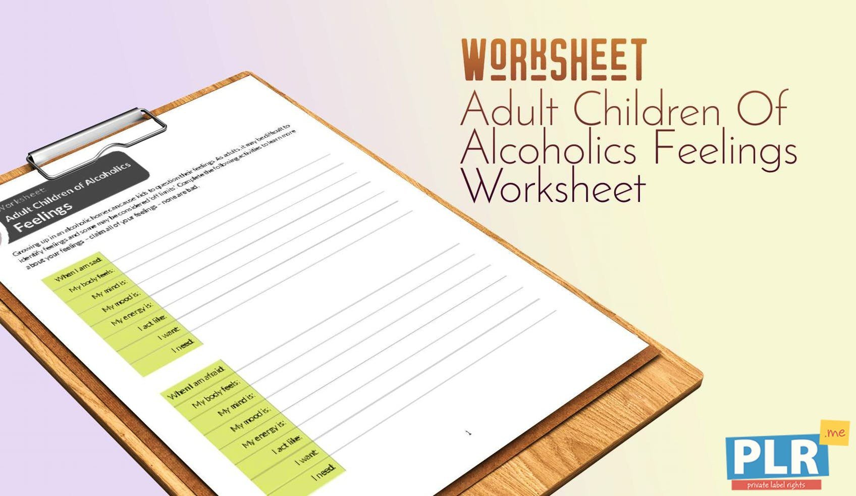adult children of alcoholics feelings worksheet 1