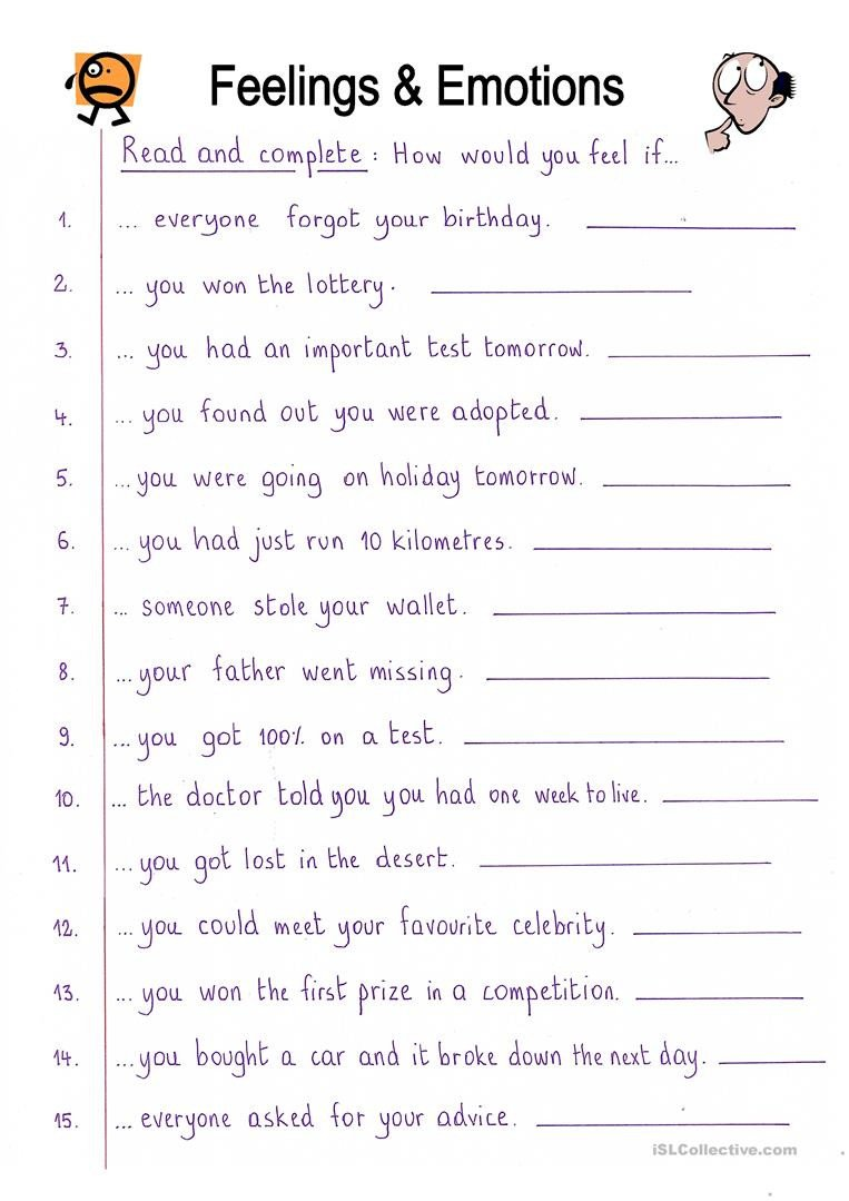 English ESL Feelings emotions worksheets Most ed