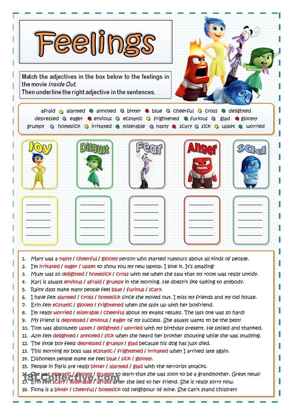 Feelings Worksheets for Adults Inside Out Feelings and Emotions
