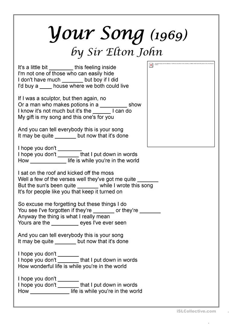 song your song by elton john to practise feelings activities with music songs nursery rhymes fun act 1