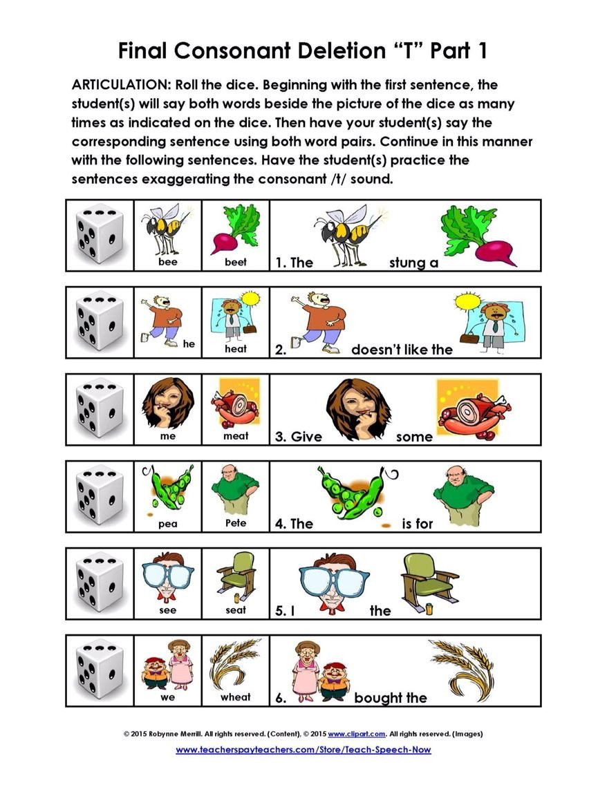 "Final Consonant Deletion Worksheet Final Consonant ""t"" Deletion"