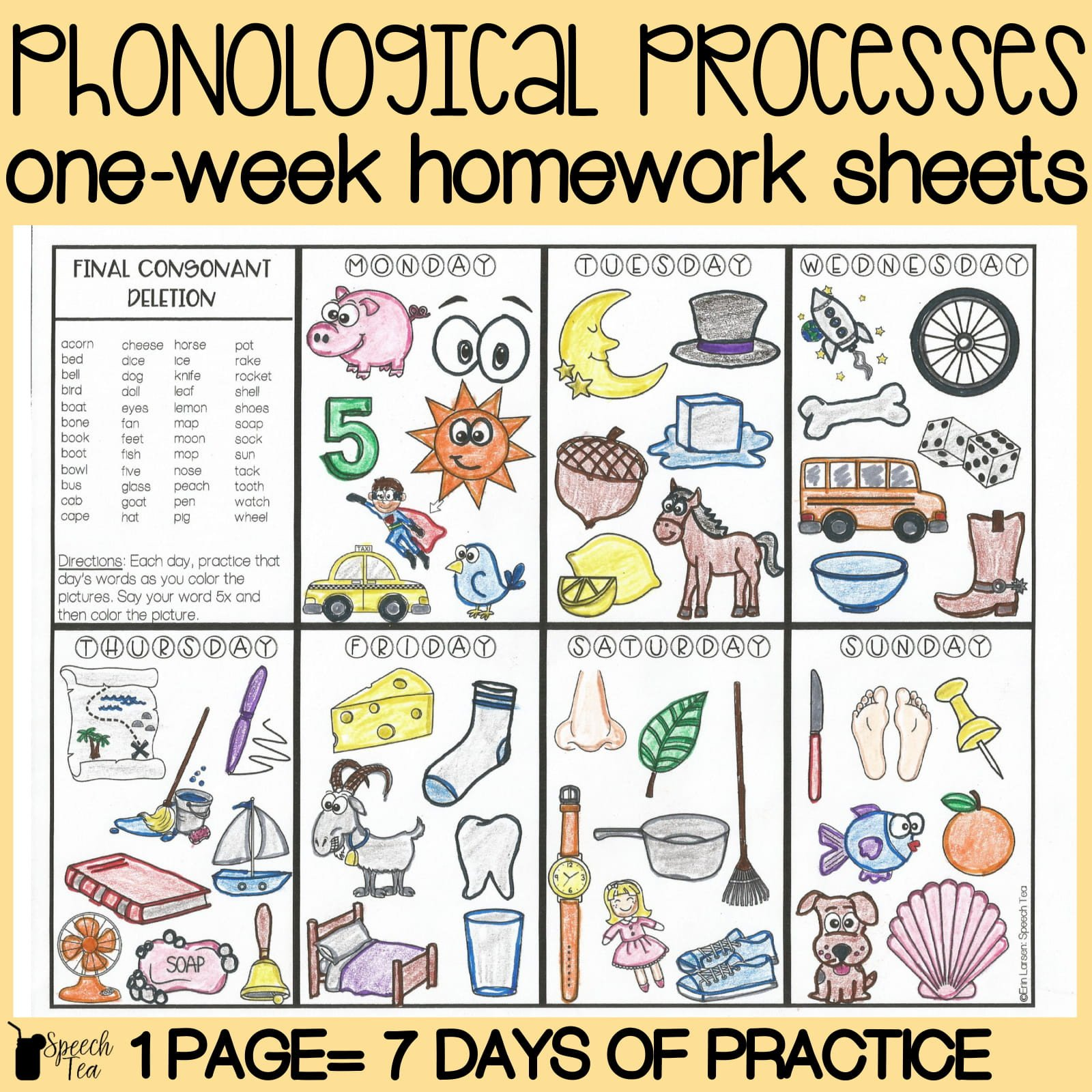 Final Consonant Deletion Worksheet Phonological Processes Homework Color Sheets