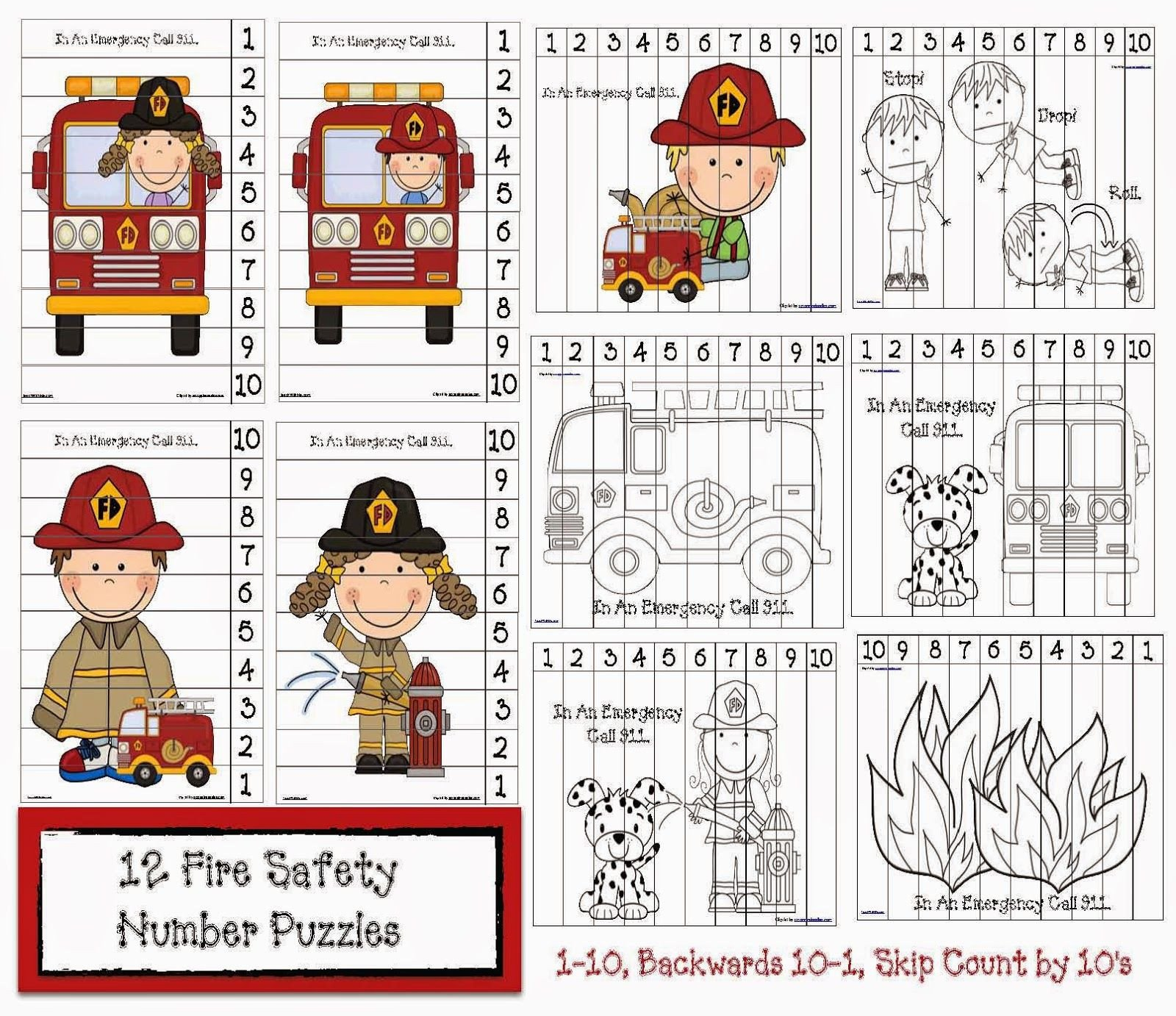 Fire Safety Worksheets Preschool Fire Safety Number Puzzles
