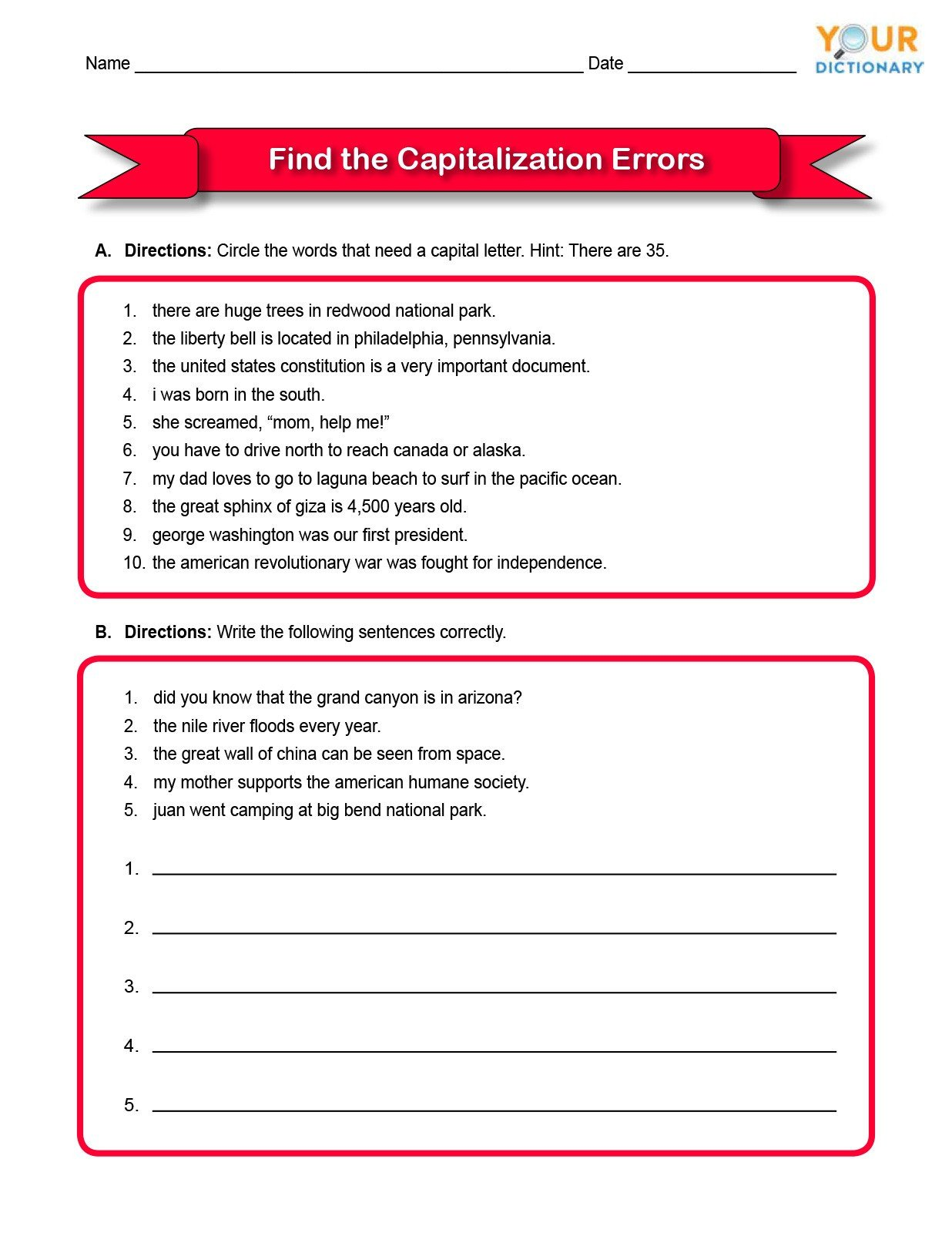 First Grade Capitalization Worksheets Capitalizations Worksheet Third Grade
