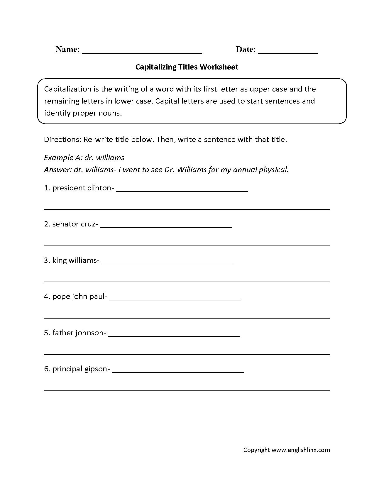 First Grade Capitalization Worksheets Elementary Capitalization Worksheets