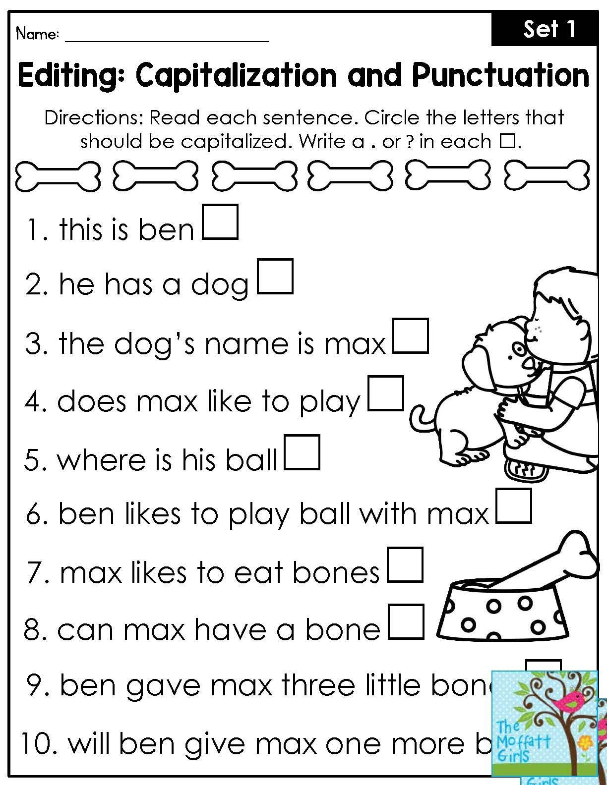 First Grade Capitalization Worksheets Mastering Grammar and Language Arts