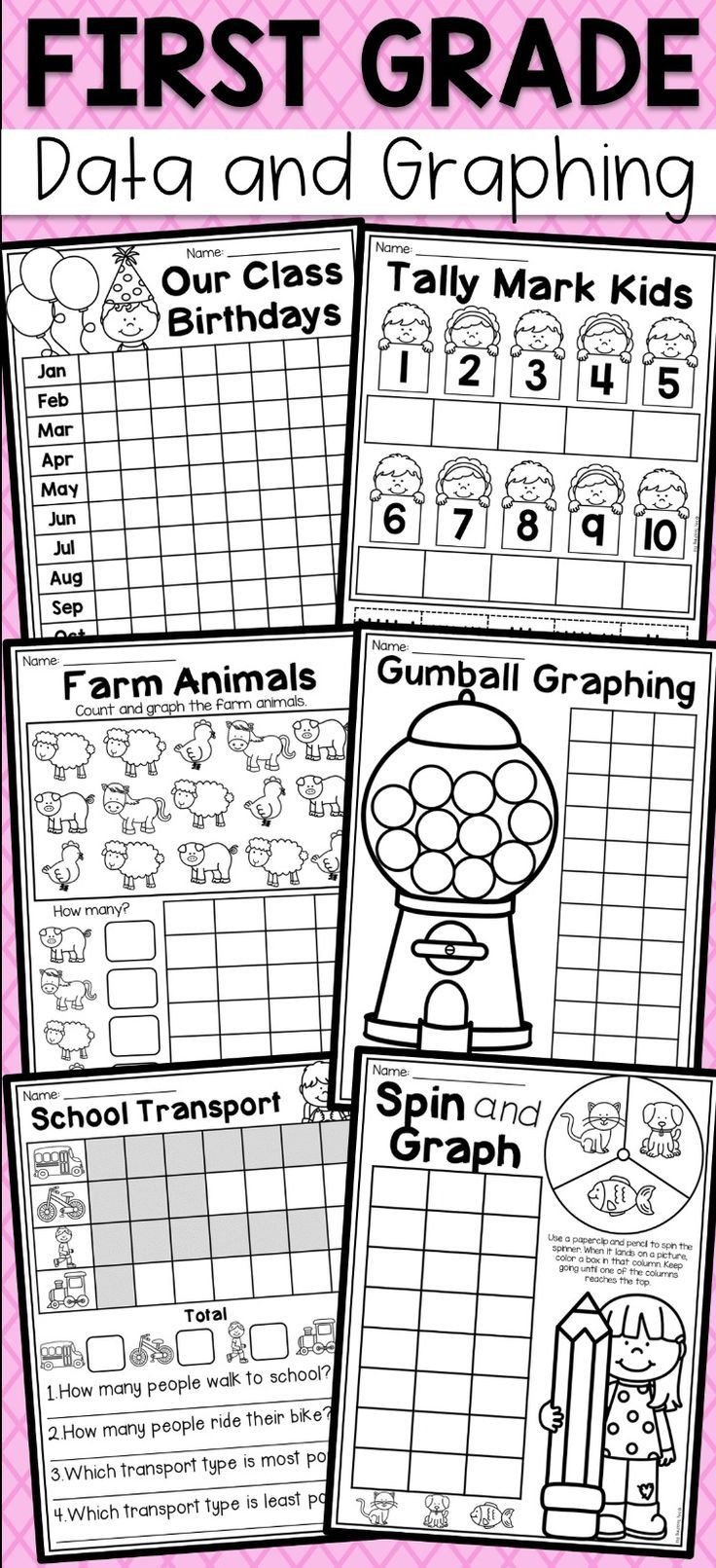 First Grade Graphing Worksheets First Grade Data and Graphing Worksheets Distance Learning