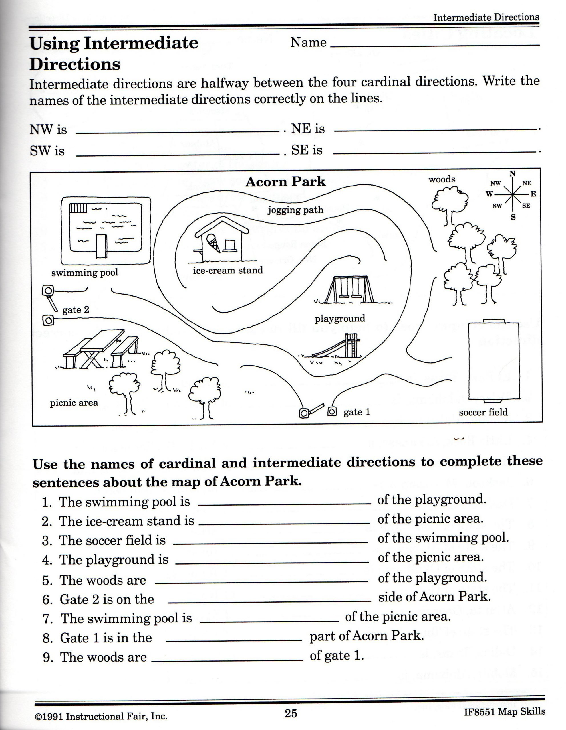 First Grade Map Skills Worksheets Intermediate Directions Worksheet