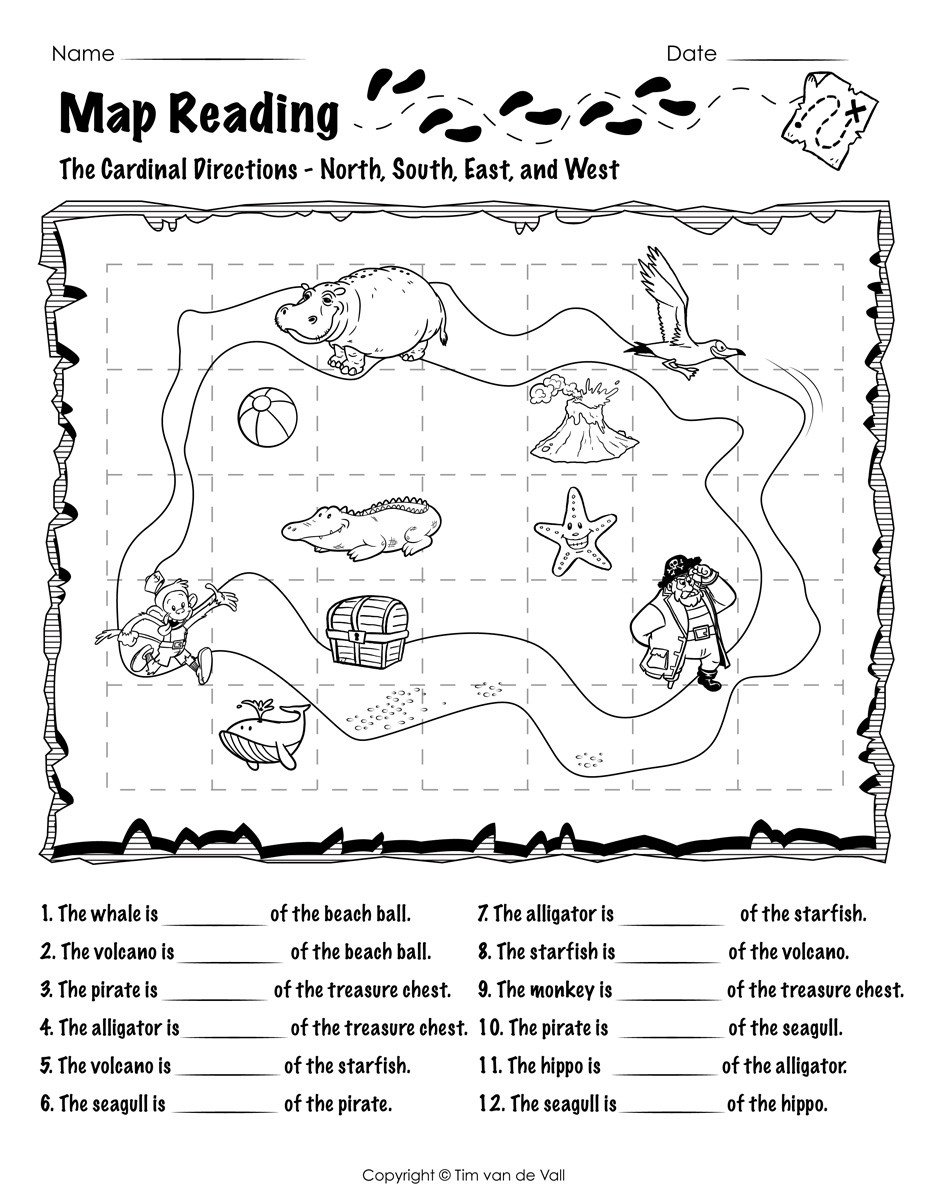 First Grade Map Skills Worksheets Worksheet First Grade Reading Prehension Test