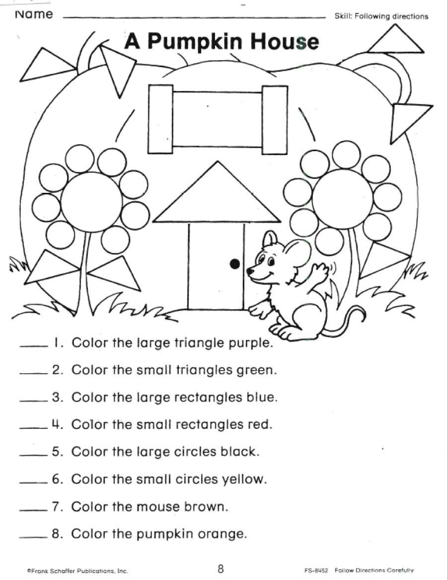 Follow Directions Worksheet Kindergarten Following Directions Worksheets Shapes