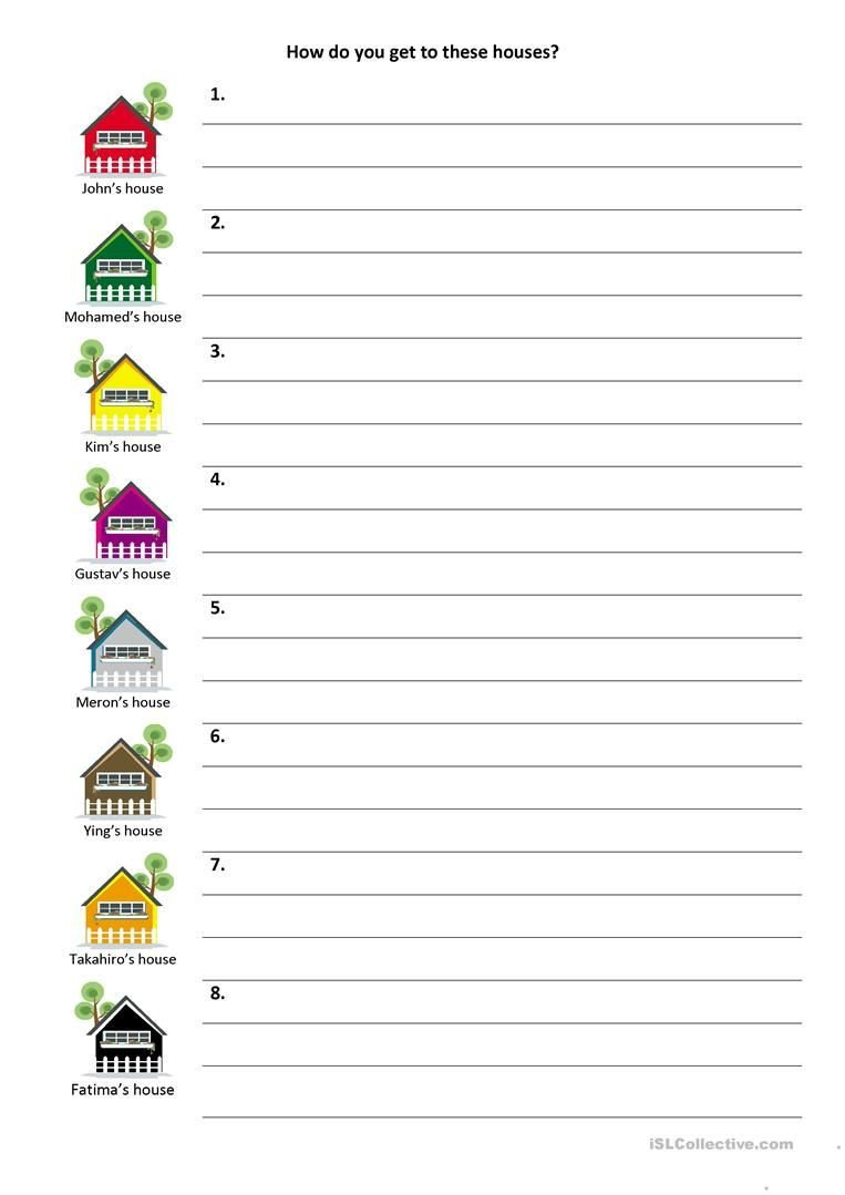 Follow Directions Worksheet Kindergarten Give and Follow Directions On A Map Worksheet Free Esl