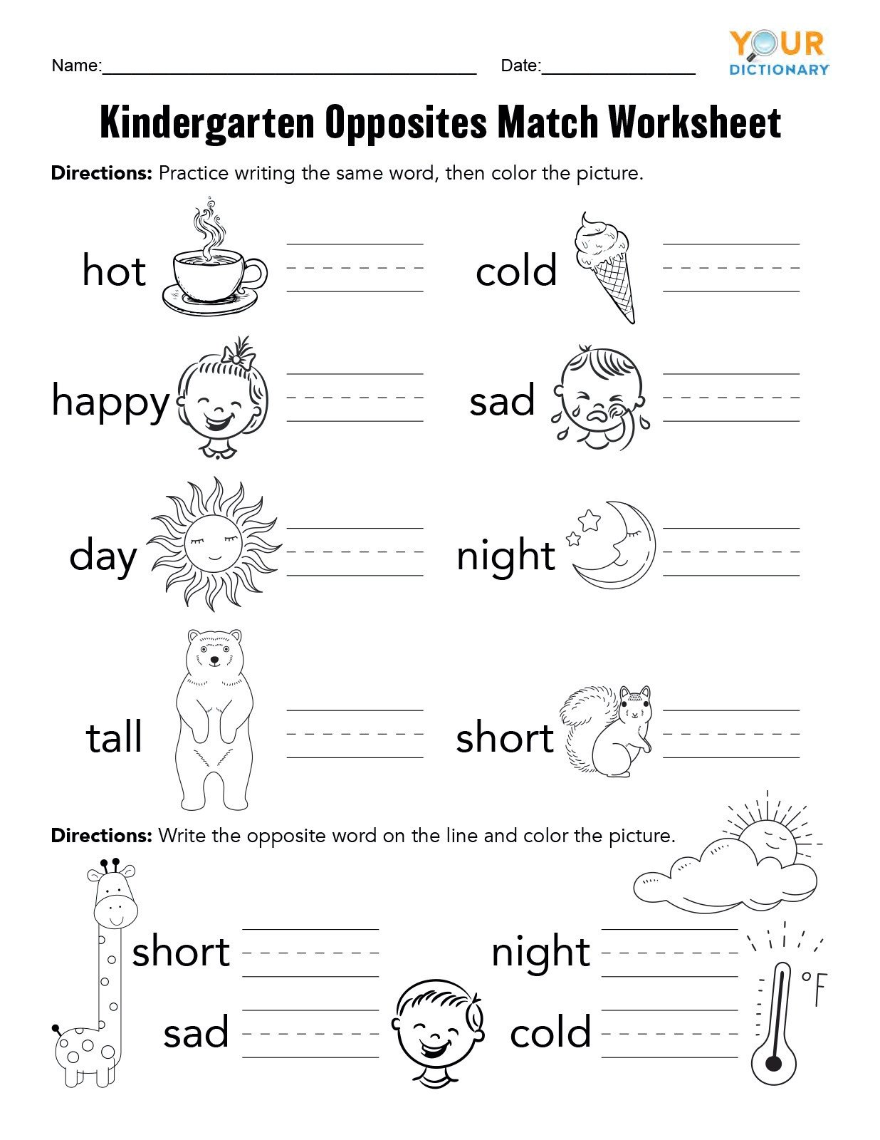 Follow Directions Worksheet Kindergarten Kindergarten Opposites Activities