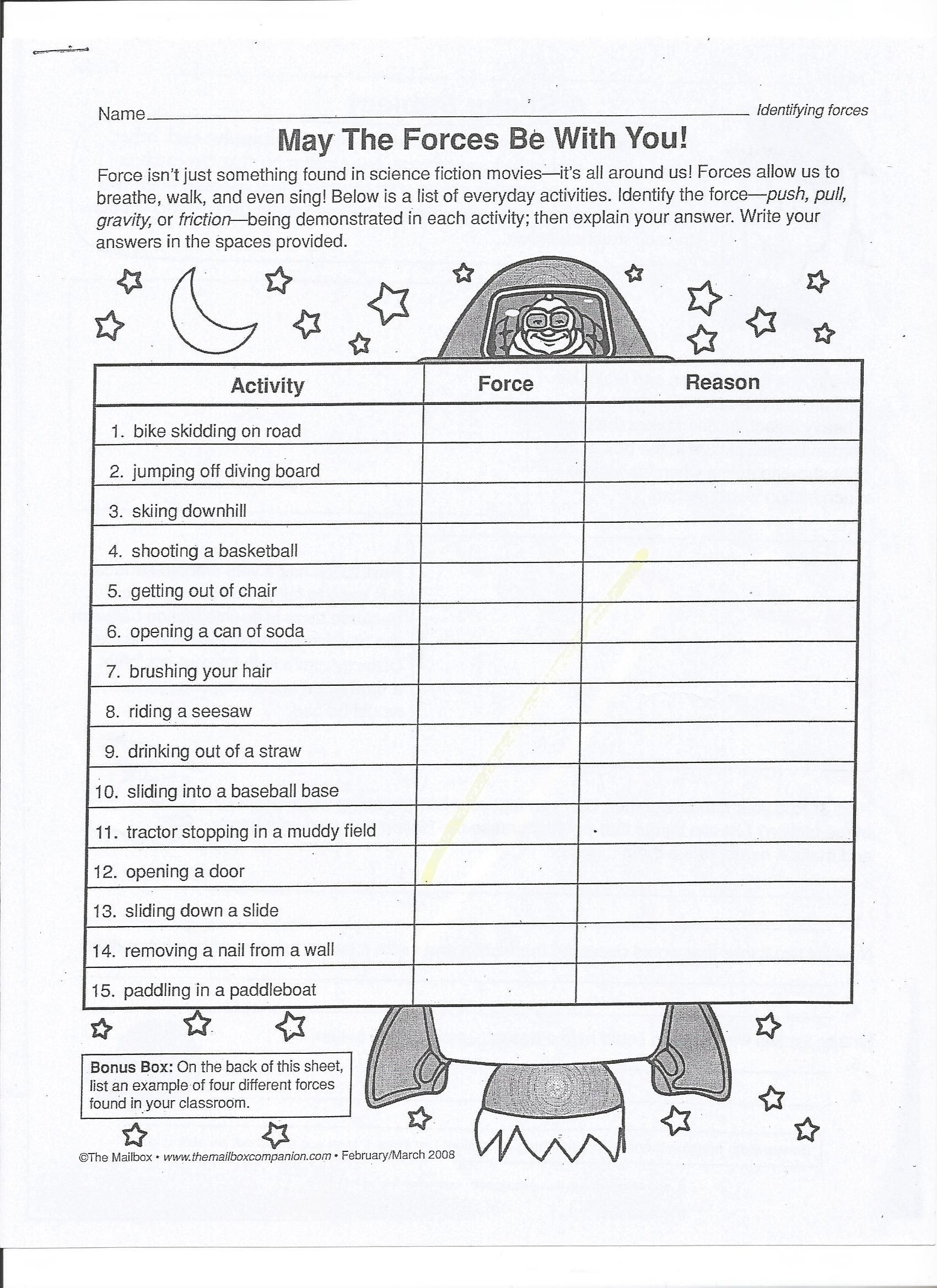 Force and Motion Worksheet Answers May the force Be with You Pg 1 1700—2338