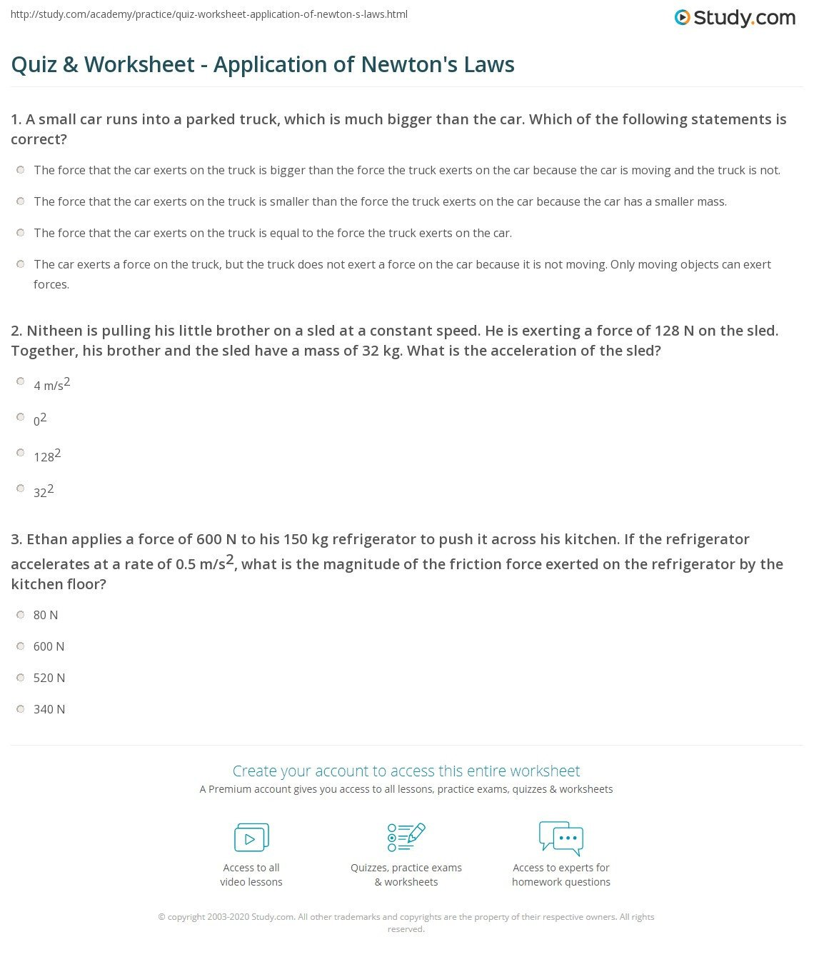 quiz worksheet application of newton s laws
