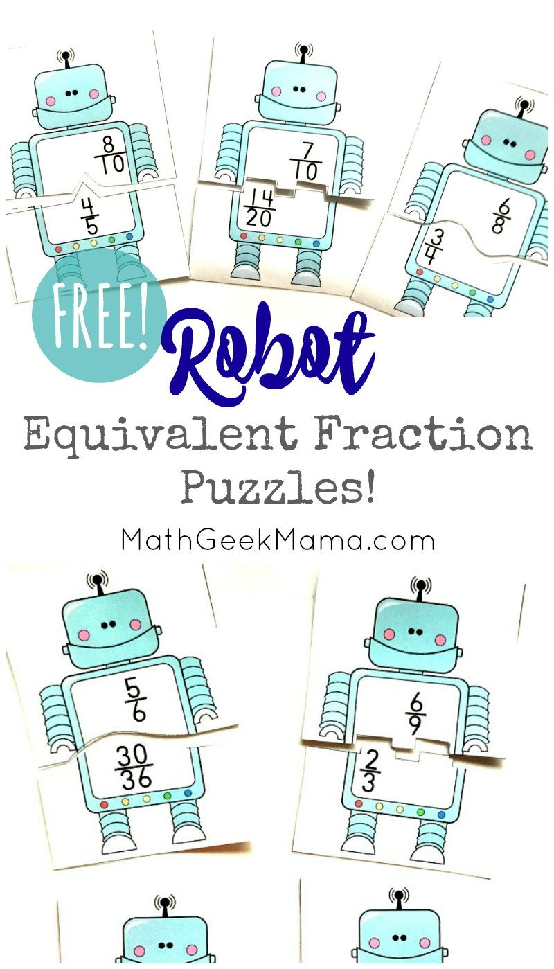 Equivalent Fractions Puzzles Robots PIN