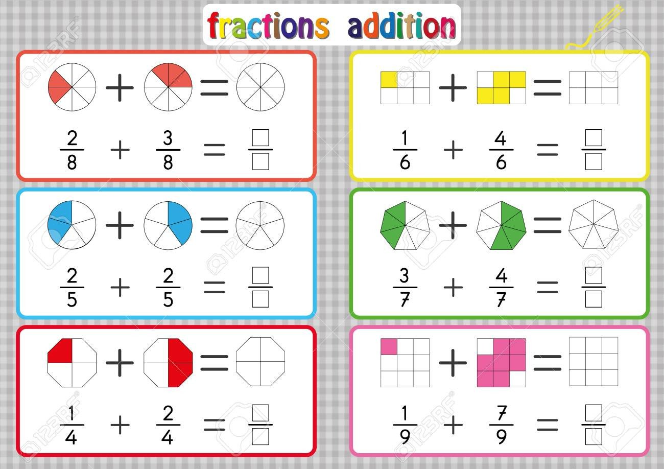 photo stock vector fractions addition printable fractions worksheets for kids fraction addition problems add two fracti