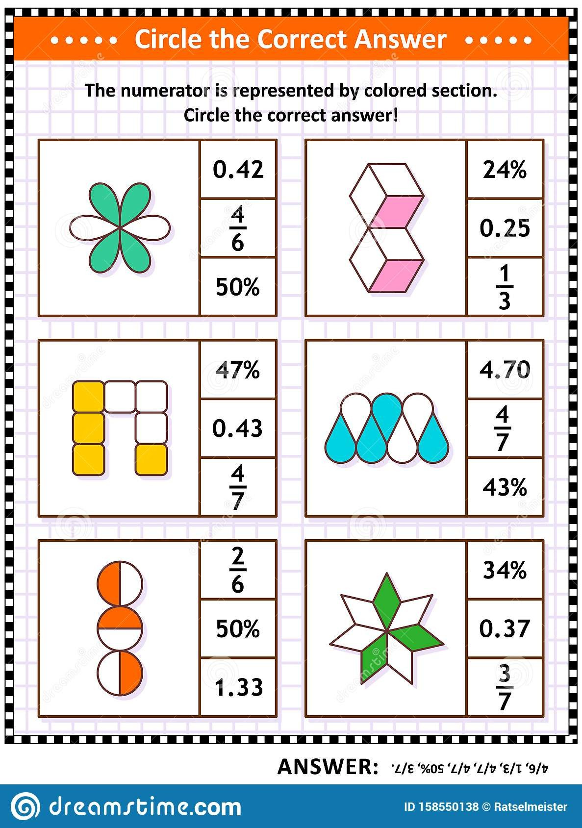 math puzzle worksheet task cards to learn practice fractions decimals percentage math puzzle worksheet task cards