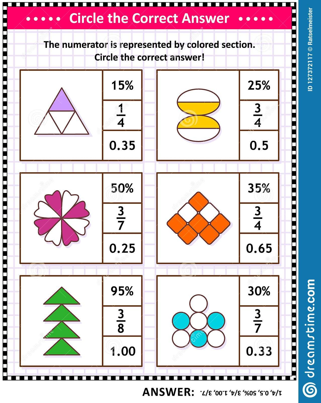 math skills training visual puzzle worksheet schoolchildren adults circle correct answer find number equivalent