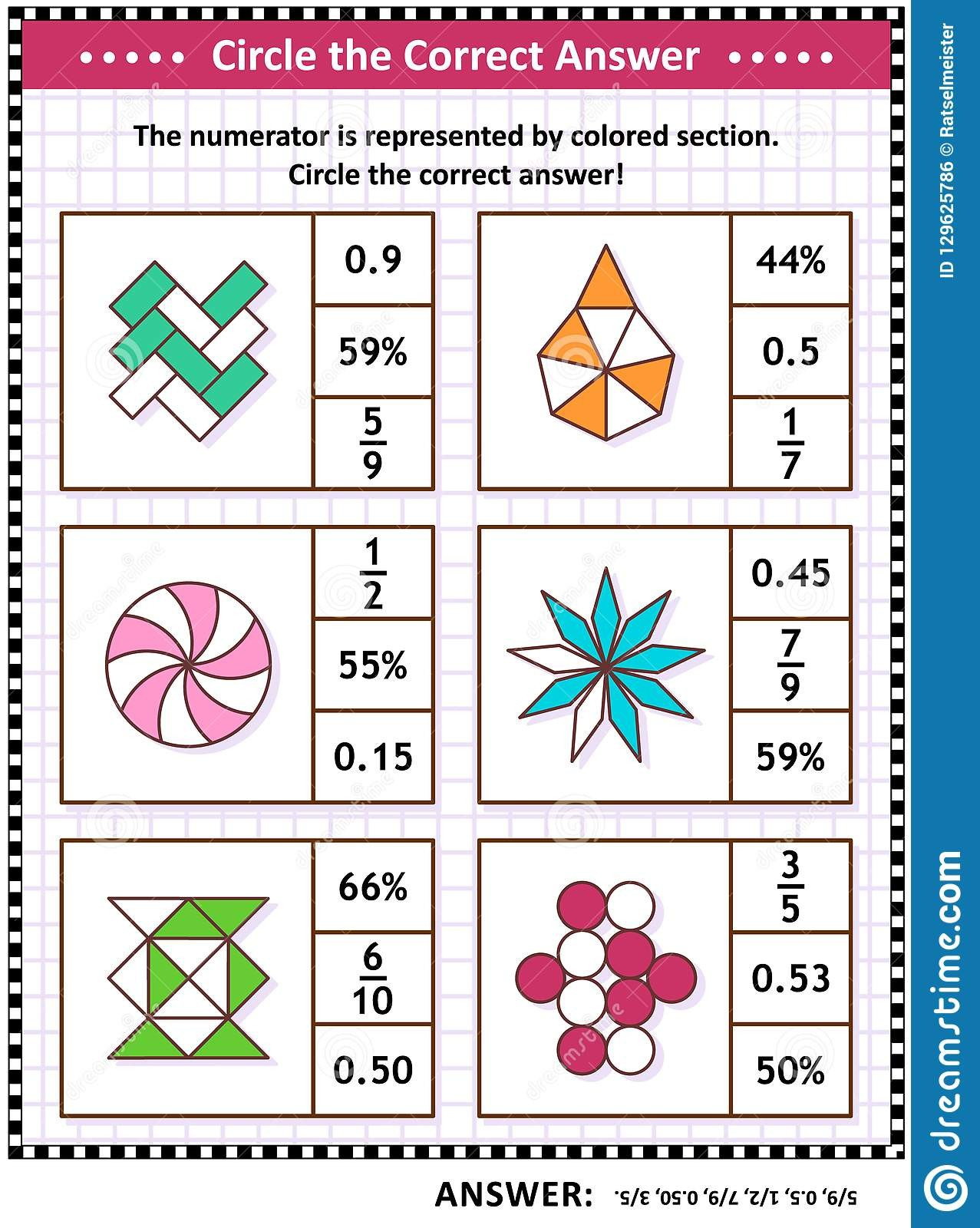 math skills iq training visual puzzle worksheet schoolchildren adults circle correct answer find number equivalent
