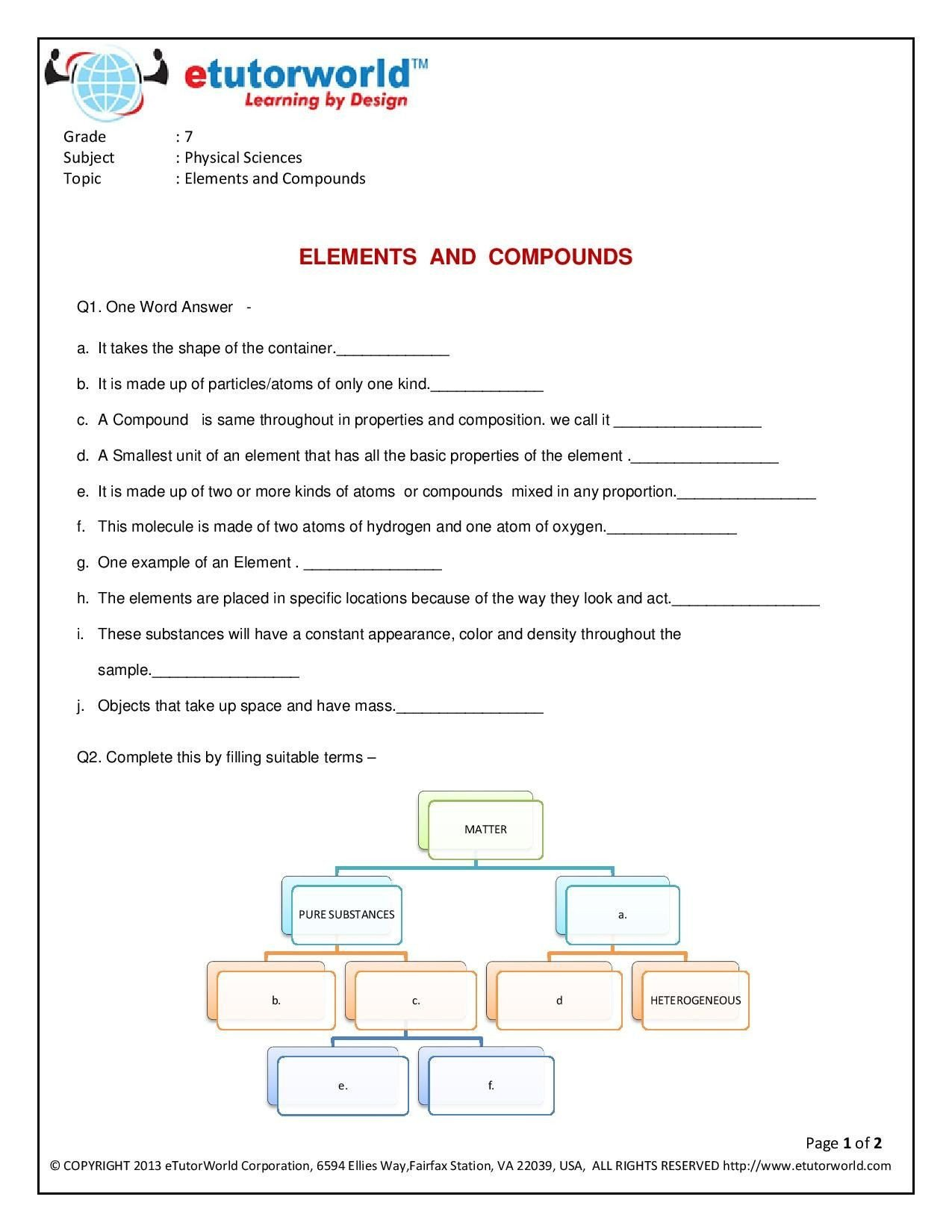 Free 7th Grade Science Worksheets This Engaging & Fun Worksheet About Elements & Pounds