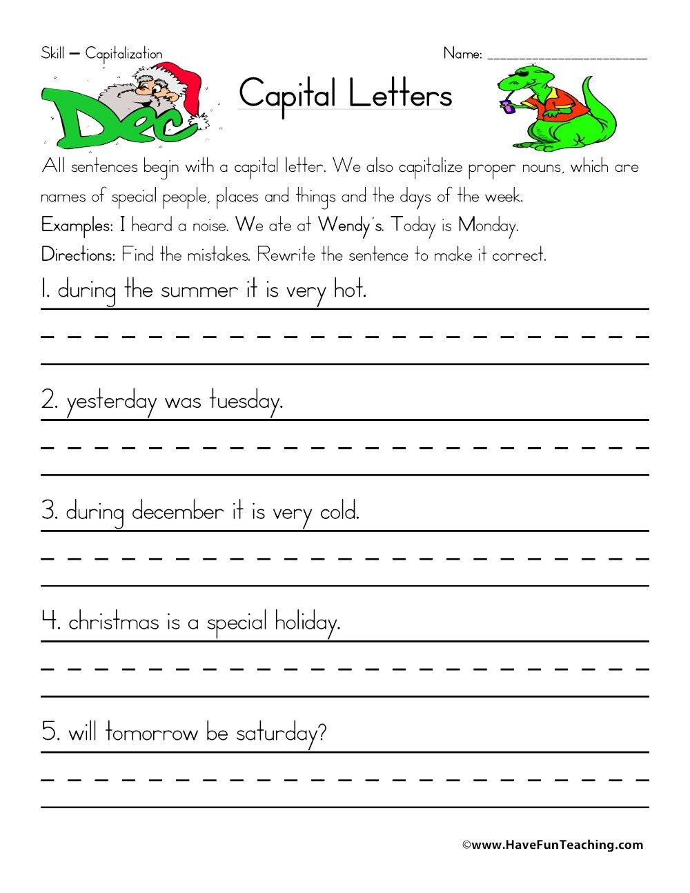 Free Capitalization Worksheets Fixing Capitalization Errors Worksheet