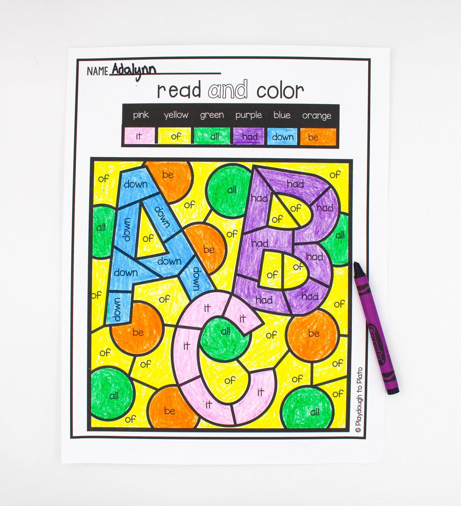 Free Color Word Worksheets Color by Sight Word Playdough to Plato