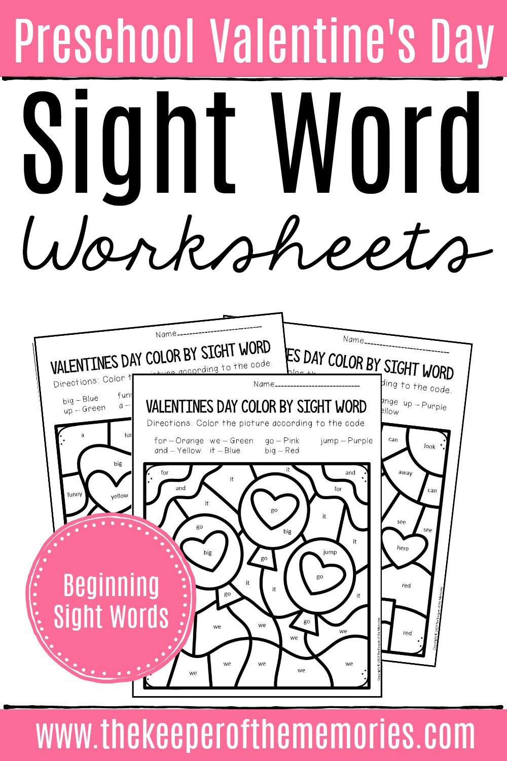 Free Color Word Worksheets Color by Sight Word Valentines Day Preschool Worksheets