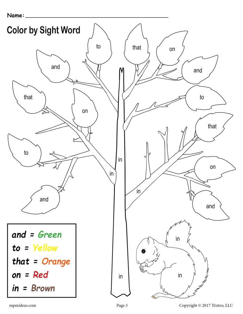 fall themed color by sight words 2 free printable preschool sight word worksheets a7764